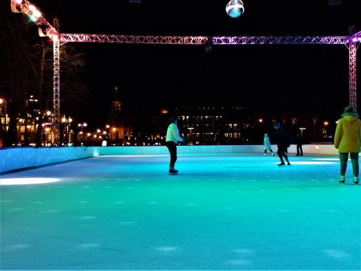 K in Motion Travel Blog. Old World Charm of Vilnius. Ice Skating at Night