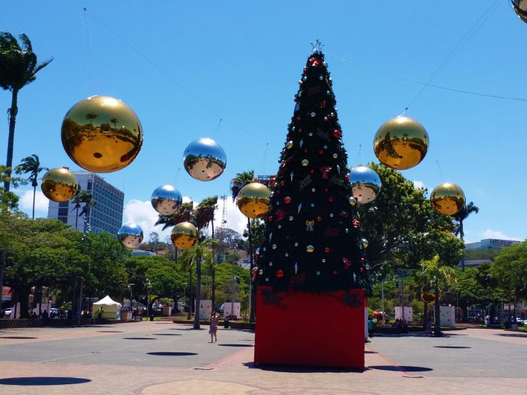 New Caledonia A Piece Of Europe in the South Pacific. Coconut Square Christmas tree and Baubles