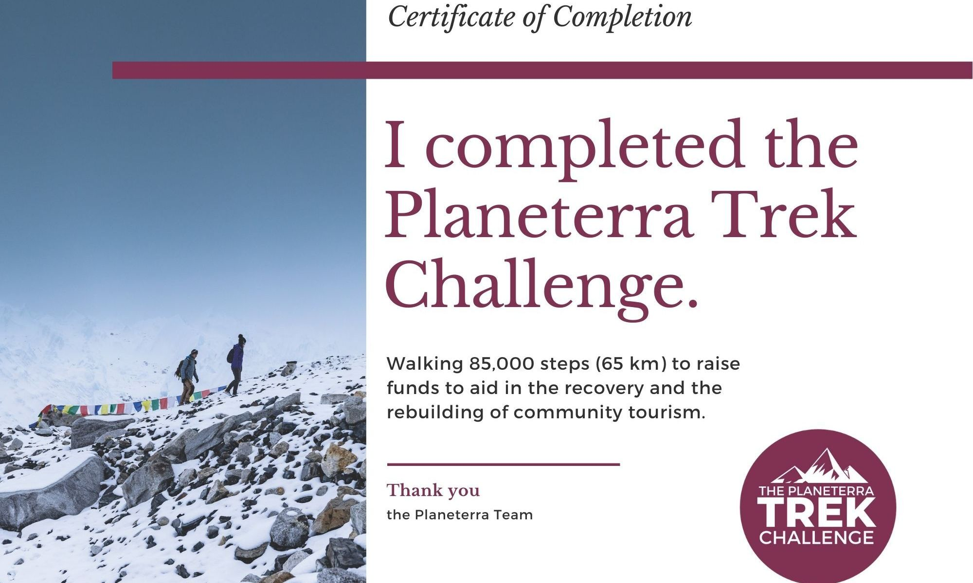K in Motion Travel Blog. Ups and Downs of the Planeterra Trek Challenge. Certificate