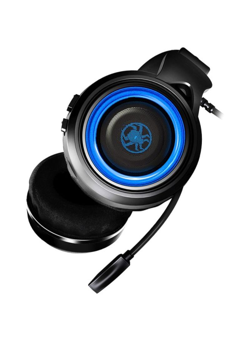 PLEXTONE G600 Gaming Wired Dynamic Headphone + GameDAC Amplifier Stereo Bass LED With Retractable Mic-Blue