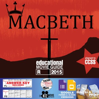 Macbeth Movie Guide | Questions | Worksheet (R - 2015) Cover