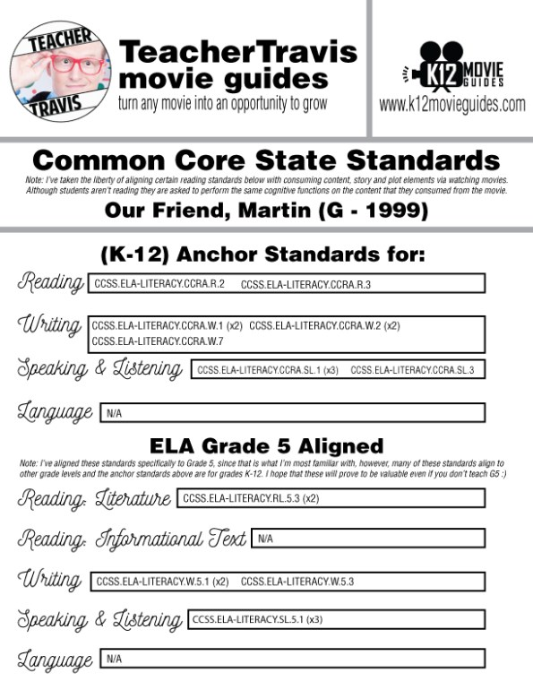 Our Friend, Martin Movie Guide   Questions   Worksheet (G - 1999) CCSS Alignment