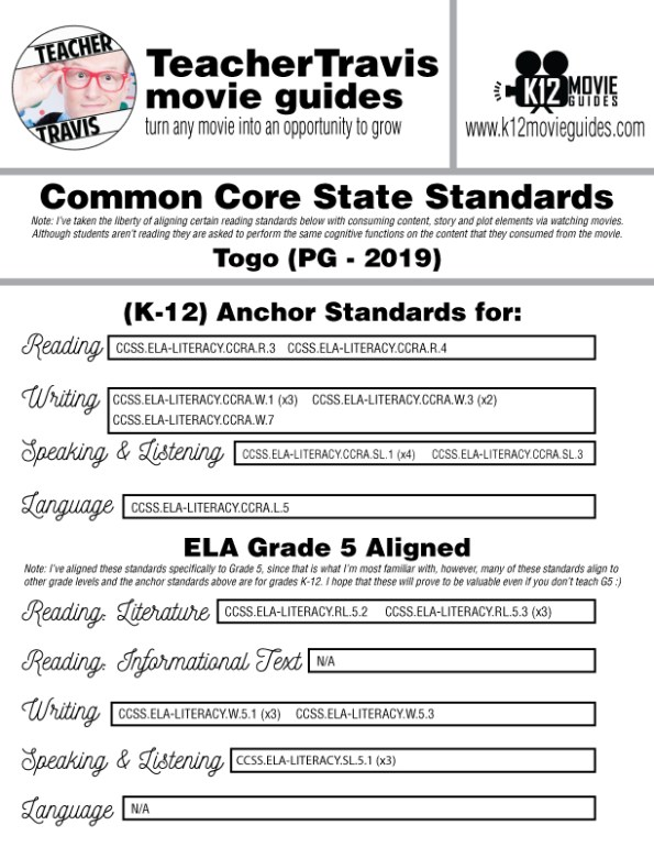 Togo Movie Guide | Questions | Worksheet (PG - 2019) CCSS Alignment
