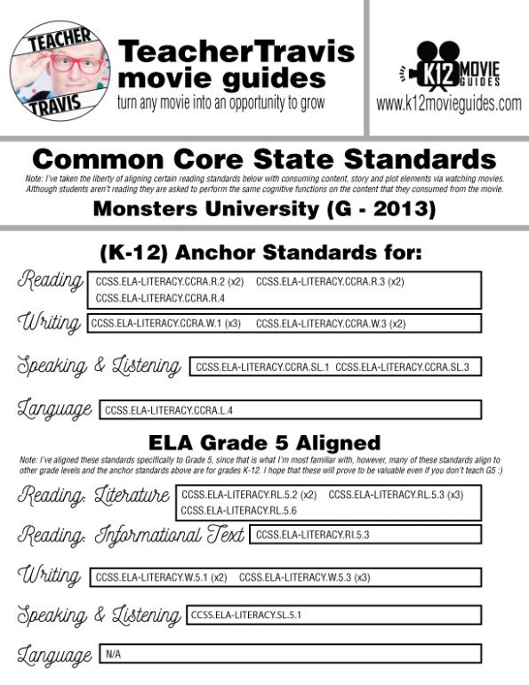 Monsters University Movie Guide | Questions | Worksheet (G - 2013) CCSS Alignment