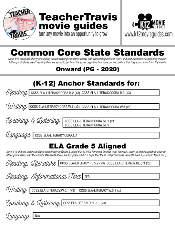 Onward Free Movie Guide | Questions | Worksheet (PG - 2020) CCSS Alignment