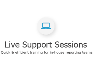Our experts hold live online sessions to accommodate all of your reporting needs, such as training, developing reports or answering simple questions.