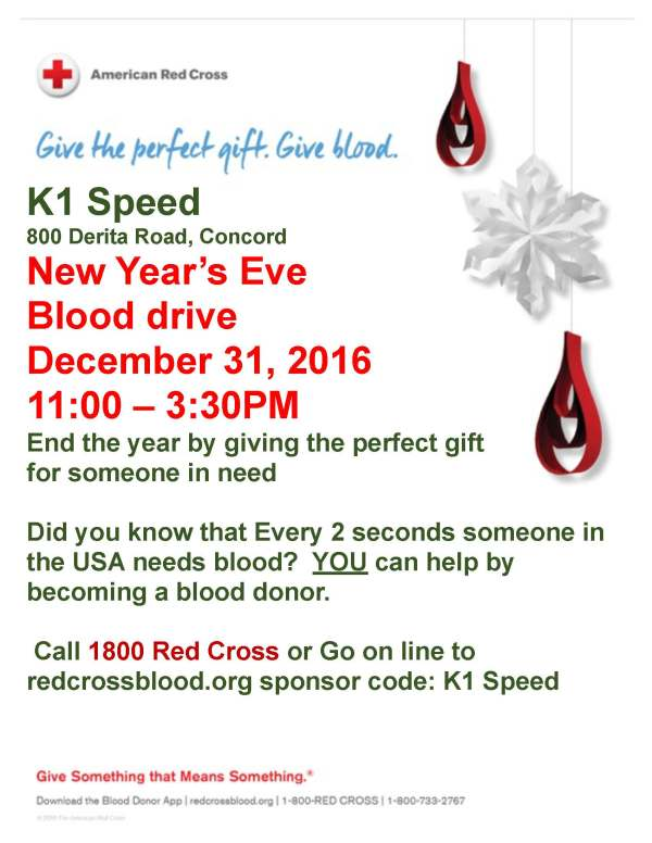 K1 Speed | New Year's Eve Blood Drive