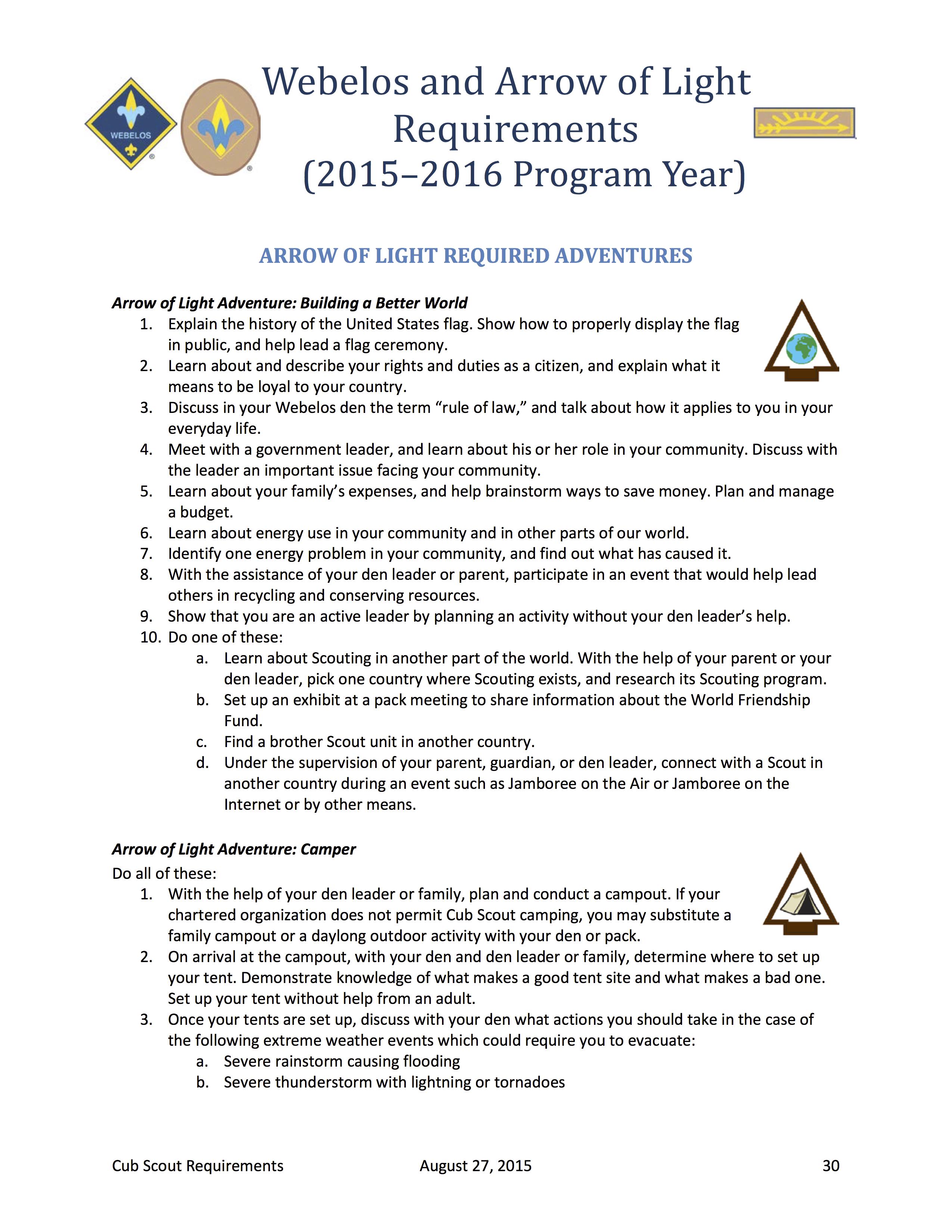 Arrow Of Light Requirements Worksheet