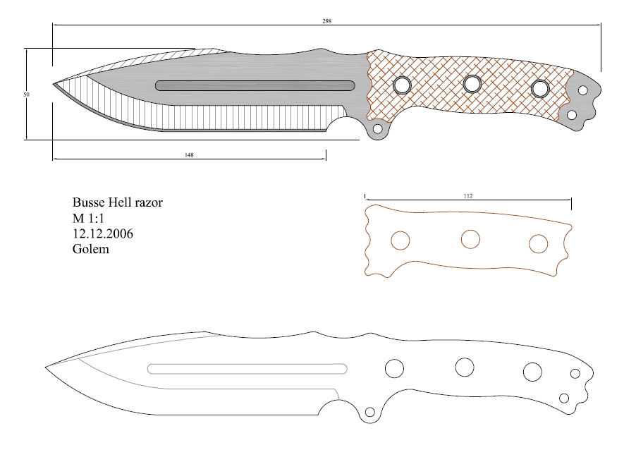 Knife Drawings To Color