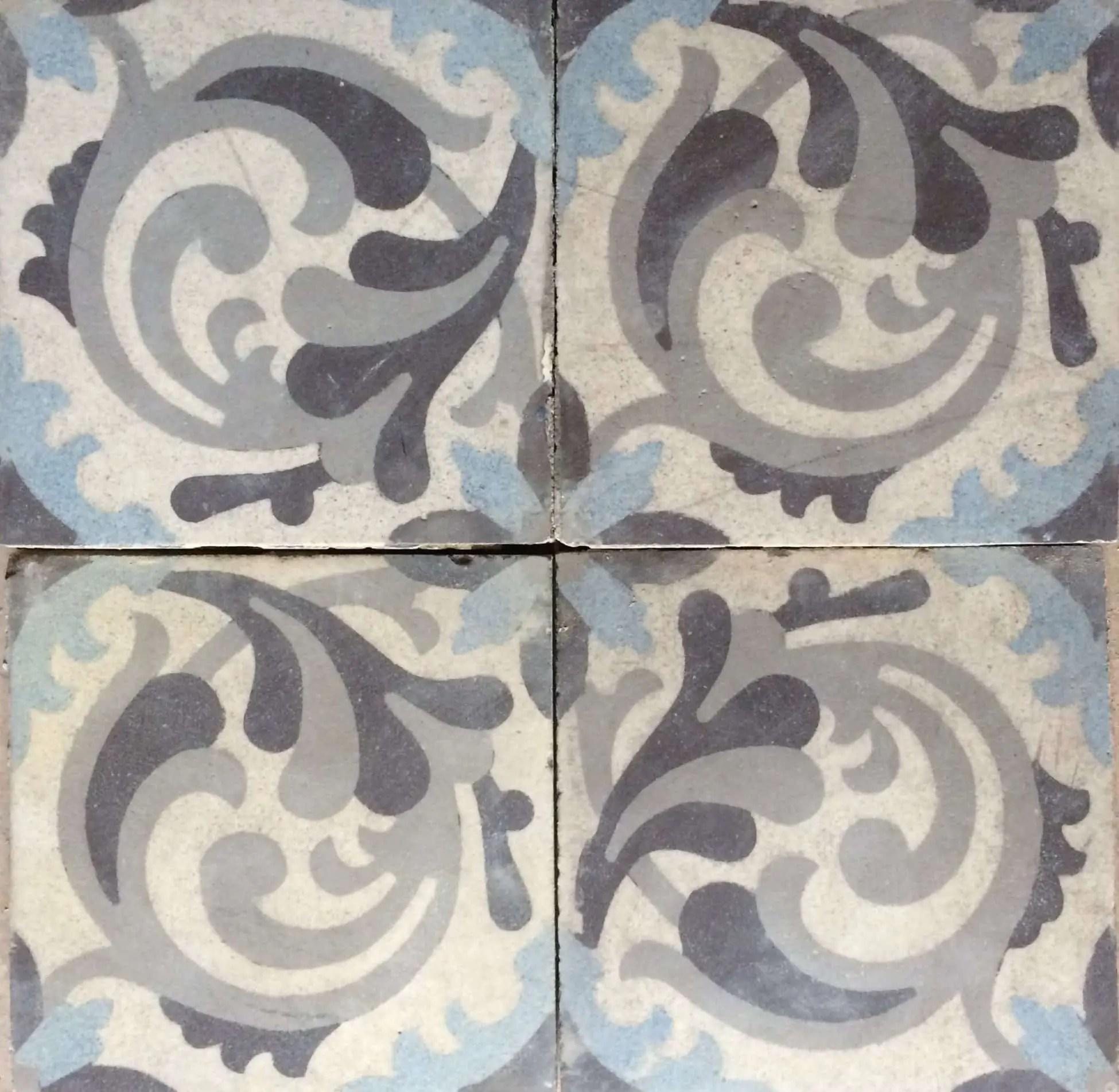 carreau de ciment ancien gris et bleu