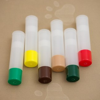 Colored Caps on 6 Clear Tubes