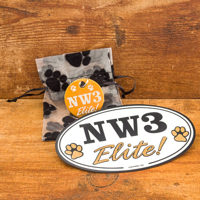 Oversized NW#-Elite GOLD Brag Tag in Gift Bag and Car Magnet