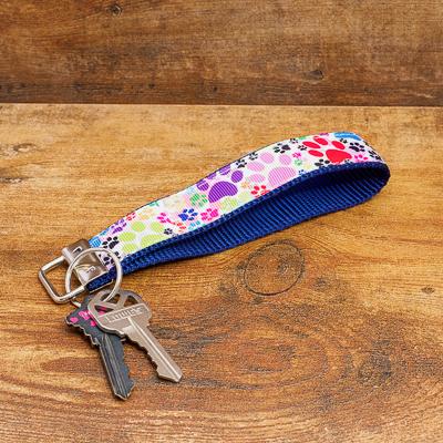 Vibrant Colored Paws Ribbon on Navy Nylon Key Loop