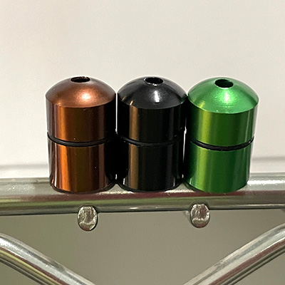 12mm wide by 18mm Tall: 3 Bullet Tubes - Brown, Black, Green