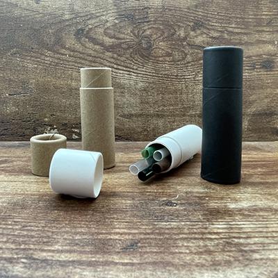White Cardboard Tube with 5 Straws