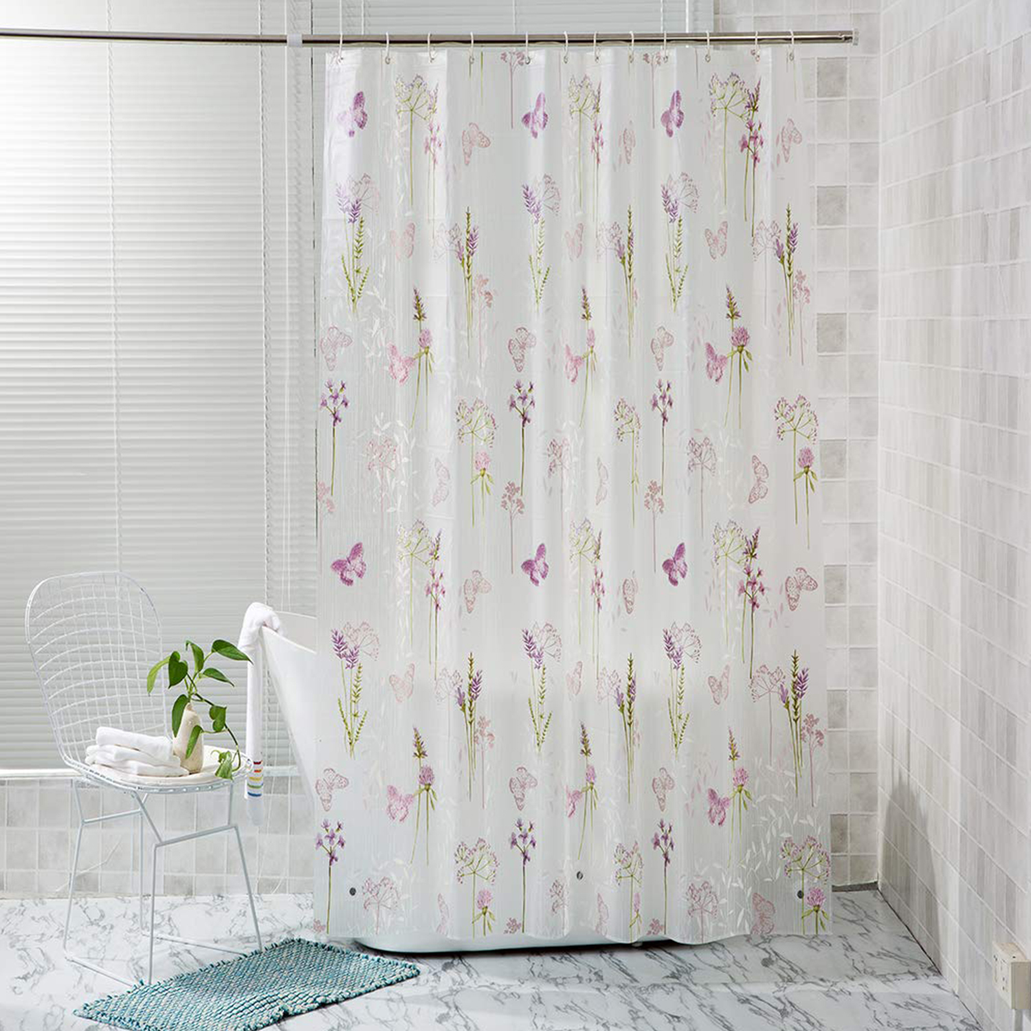 Details About Shower Curtain 72 X72 Butterfly Flowers Peva Bathroom Shower Curtain With Hooks