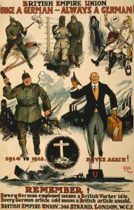 """Poster for de britiske fagforeninger, fra krigens allersidste måneder. Budskabet er, at det ikke er nok at besejre tyskerne; de må aldrig kunne rejse sig igen, for... """"én gang tysker, altid tysker!"""""""