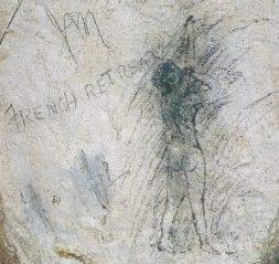 Gafitti, tegnet af en engelsk soldat i de vidtstrakte gange i Arras´ undergrund - og et godt indblik i, hvad der inderst inde optog soldaterne.
