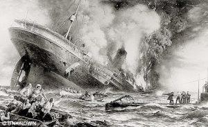 En samtidig illustration af passagerdamperens forlis, tegnet på grundlag af overlevendes skildringer.