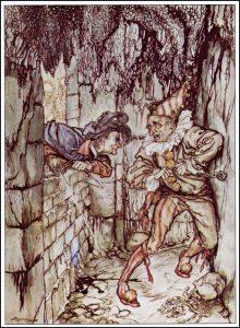 """Edgar Allan Poes hypergotiske novelle """"The Cask of Amontillado"""" er en af de mest ekstreme hævnfantasier - her illustreret af Arthur Rackham)"""