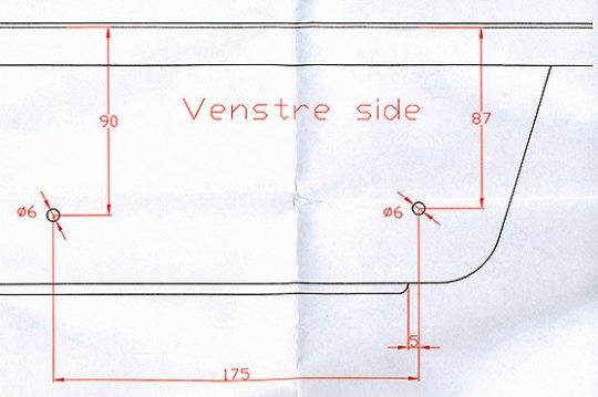 Monteringsanvisning for venstre side av pulken.