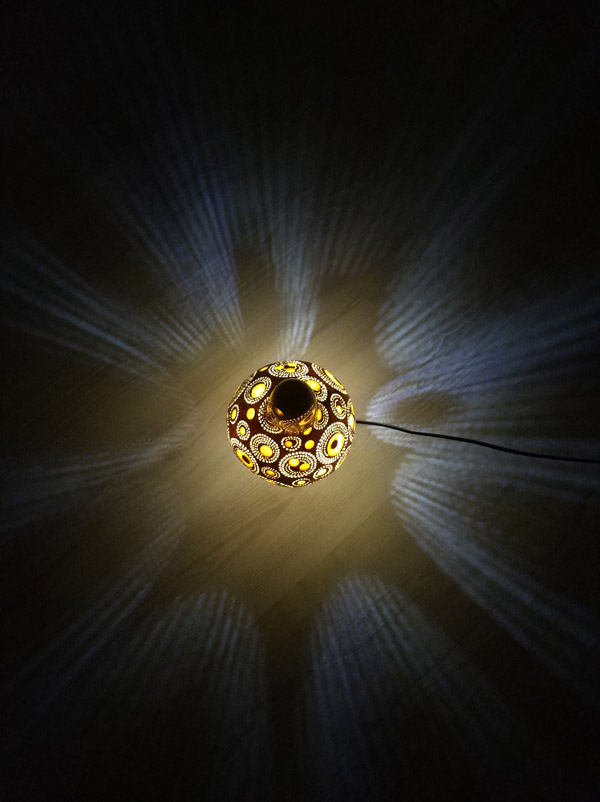 Dekoratif otantik ışıklı su kabağı lamba