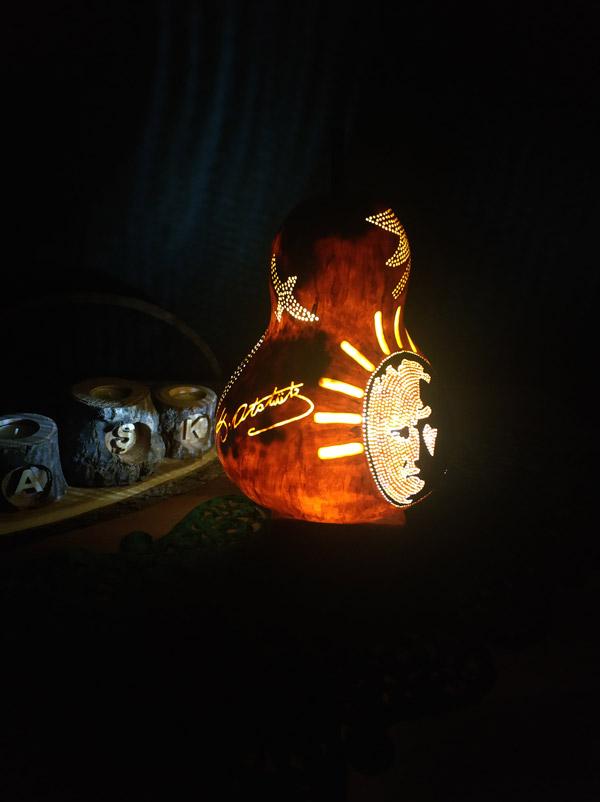 atatürk imzalı otantik dekoratif su kabağı lamba