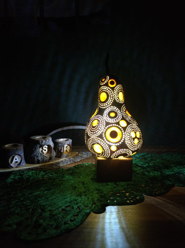 su kabağı tasarım otantik dekoratif led lamba