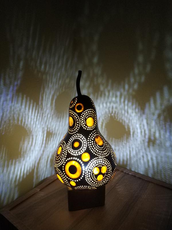 otantik dekoratif led ışıklı su kabağı lamba