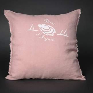 coussin en lin 45x45, frange, rose fane