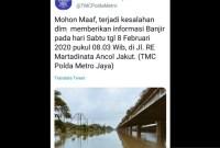 Akun TMC Polda Metro Mengakui Posting Informasi Banjir yang Salah