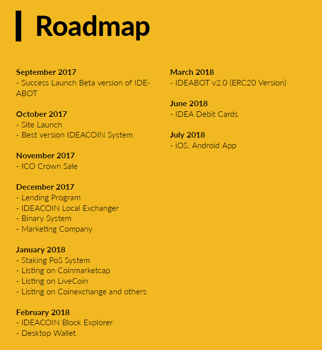 road map ideacoin