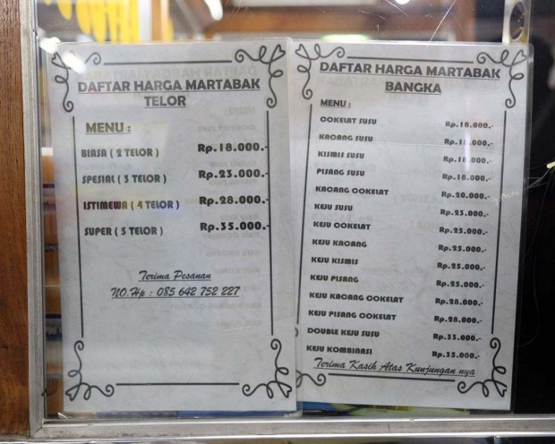 Daftar harga martabak telor dan martabak manis bangka