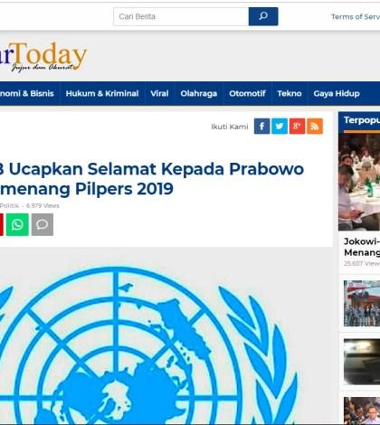 [SALAH] Sekjen PBB Ucapkan Selamat pada Prabowo Atas Terpilihnya Menjadi Presiden RI