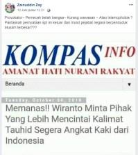 [SALAH] Wiranto Minta Pihak yang Lebih Mencintai Kalimat Tauhid Segera Angkat Kaki dari Indonesia