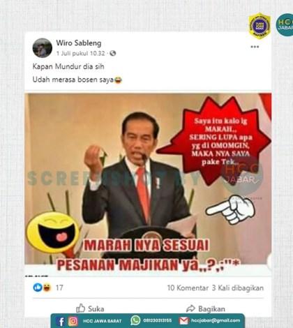 [SALAH] Foto Presiden Jokowi dengan Narasi Mengakui Bahwa Marahnya Menggunakan Teks