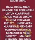 [SALAH] Sri Sultan Pertanyakan Keaslian Ijazah Jokowi dari UGM