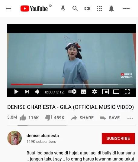"""Lagu Denise Chariesta Berjudul """"Gila"""" Ditonton 3,8 Juta Kali, yang Like 116 Ribu, yang Dislike 459 Ribu"""