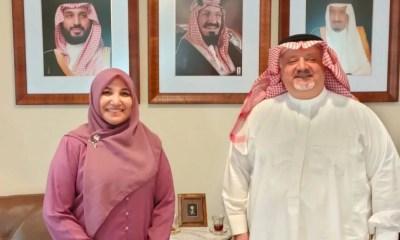 Rektor Amany Lubis saat bersilaturahmi dengan Duta Besar Arab Saudi untuk Indonesia, Syekh Essam bin Abed Al-Thaqafi, di Kantor Kedubes Arab Saudi di Jakarta, Selasa (29/6/2021).