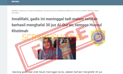 "[SALAH] Foto ""Seorang gadis asal Arab Saudi meninggal dunia, setelah berhasil menghafal 30 juz Alquran"""