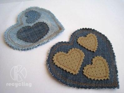Подкружники из старых джинсов Jeans Hearts.