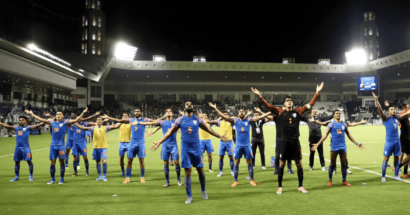 Indian Football Team Celebrates