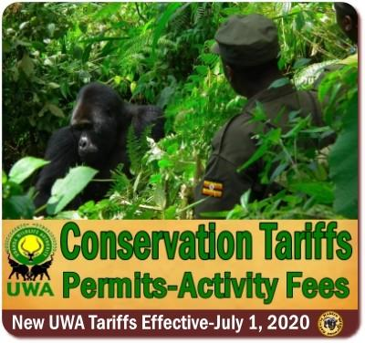 Uganda Wildlife Authority Tariffs-Activity Fees end June-2020