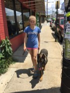 Residency graduate German Shepherd Huck and his young guardian out practicing an aligned walk in the city environment.