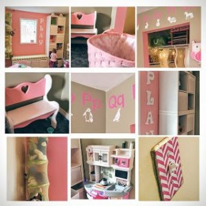 Collage of playroom theme details