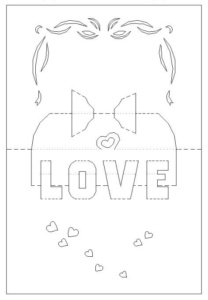 Kirigami Love Hearts Card Template