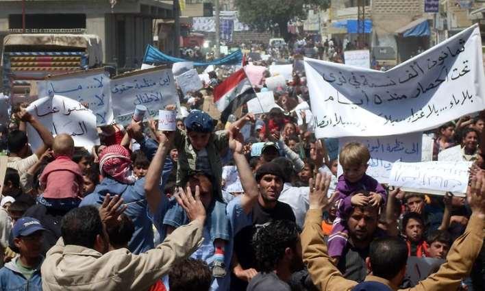 د سوریې په درعا ښار کې د بشار الاسد پر ضد مظاهرې – اپرېل ۲۰۱۱ / AFP/Getty Image