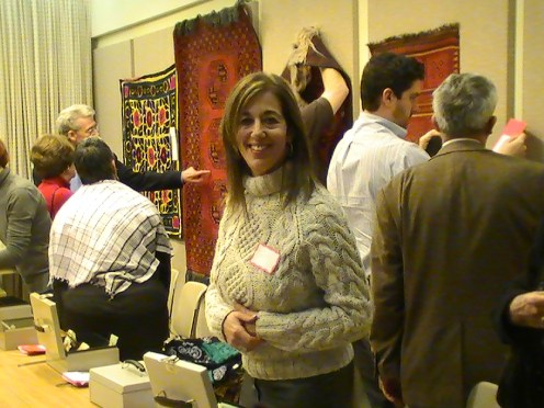A supporter browsing the wares at the silent auction.