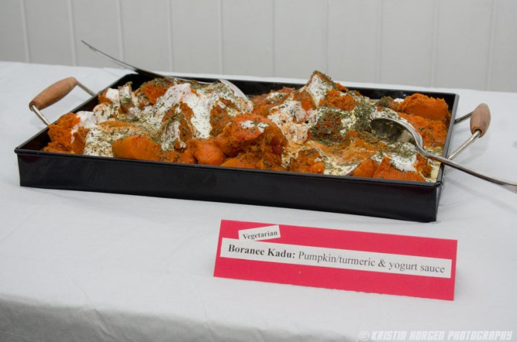 Kabultec 2016 benefit dinner. Boranee Kadu: Pumpkin with turmeric and yogurt sauce