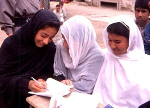 Literacy teacher with women learners in Kabul. 2002